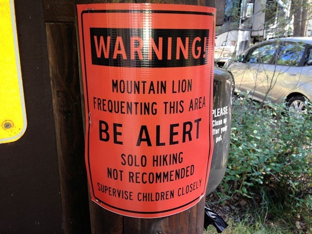 Mountain Lion Warning at Apgar Campground, Glacier National Park, Montana, August 25, 2014