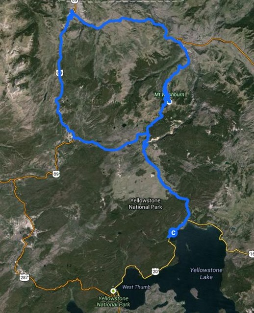 Travel route, Yellowstone National Park, August 18, 2014