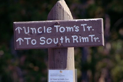 Trail Sign at Grand Canyon of the Tellowstone - Uncle Tom and South Rim
