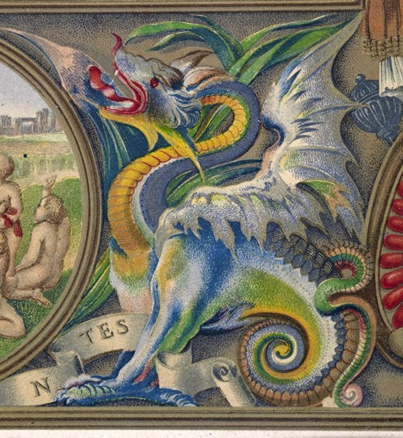 The Illuminated Books of the middle ages; an account of the development and progress of the art of illumination ... from the IVth to the XVIIth centuries ... Illustrated by a series of examples ... executed on stone and printed in colours by Owen Jones. - caption: 'A dragon.'