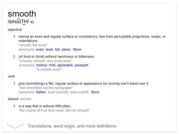 Definition of 'smooth'