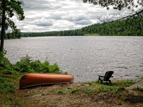 Canoe and Algonquin Chair - Lake of Two Rivers, from Killarney Lodge; Algonquin Provincial Park, Ontario Canada