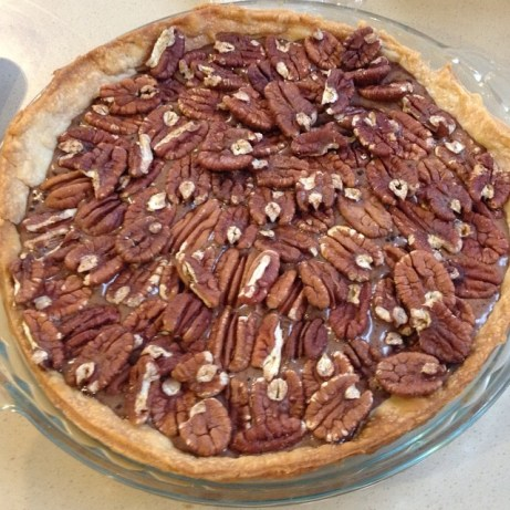 Chocolate pecan pie (before baking).