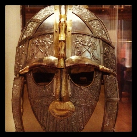 The iconic helmet of Sutton Hoo at the British Museum.