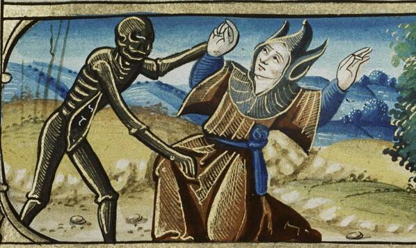Death and the Fool from the Book of Hours. Use of Rome, MS Douce 135, 16th century. Via Bodelian Library