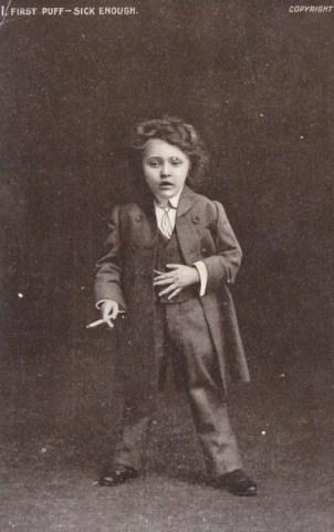 Gender bending smoking kid, circa early 1900s.