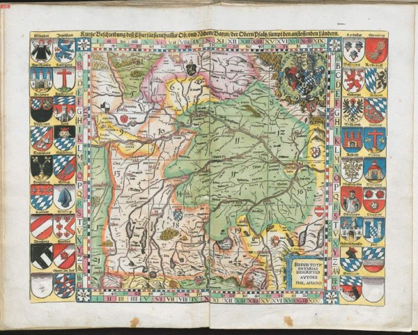 Overview map of the whole of Bavaria, cia 1651, via Bavarian State Library