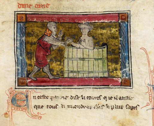Lancelot rescuing a lady from the bath, from British Library Add. 5474, 13th c.