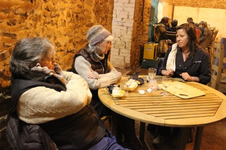 Claire Lynch having a chat with Christine and Richard Havers after the meal