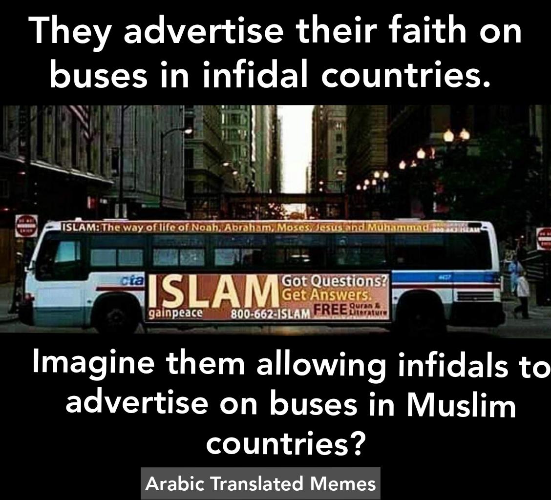 logic advertising infidel countries hypocrite hypocrisy bus new york USA Muslim countries