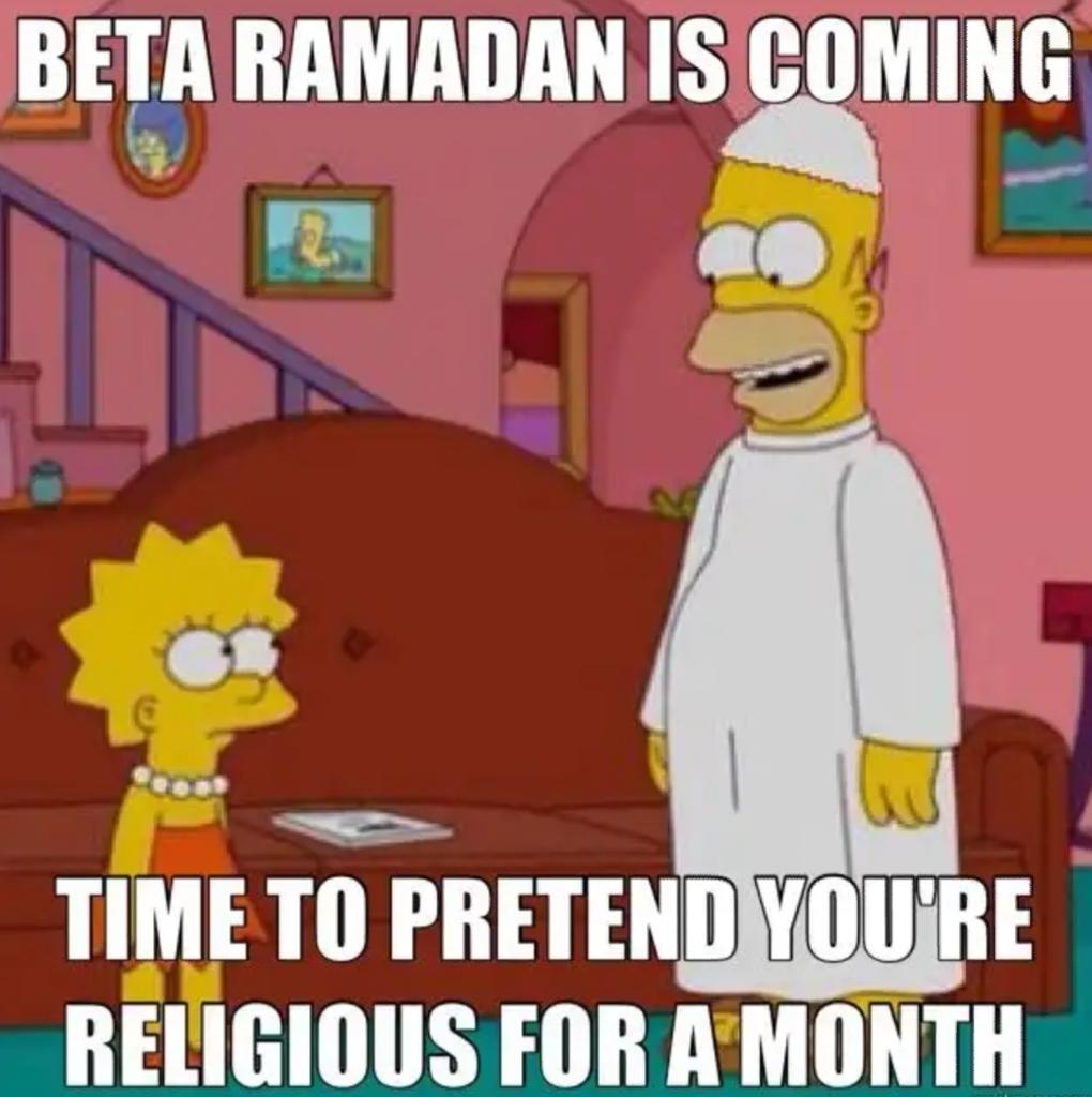 Ramadan eating hypocrisy moderate muslim pretend Simpsons