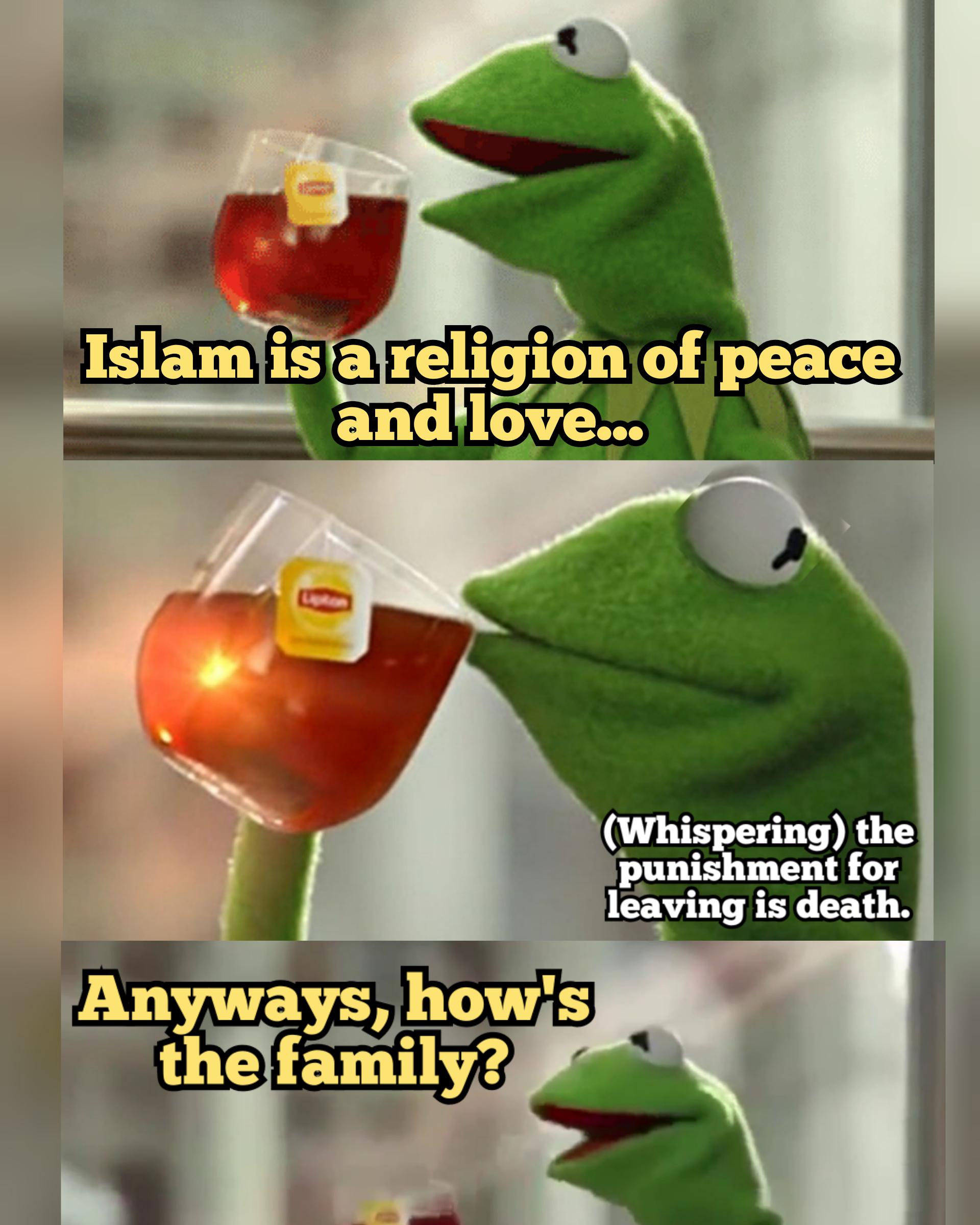 Religion of peace meme Kermit the frog
