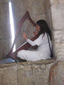 25. playing harp