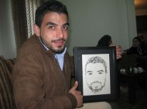 07. Hajj with his portrait made with Arab letters