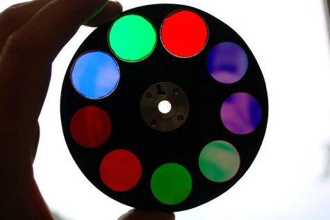 AUPE1 filter wheel containing Red, Green and Blue broad band filters for colour imaging and 6 of the 12 narrow band geology filters