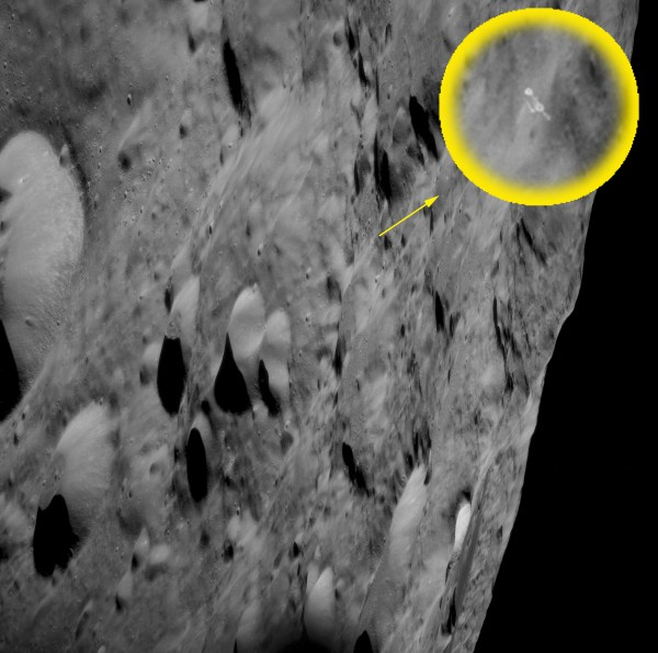 Location of object on far side of moon in image AS11-41-6155 - its relative size made it escape detection until recently. Click image for enlargement.