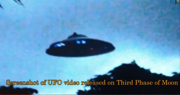 Screenshot of UFO video released by Third Phase of Moon