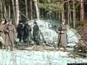 Stillshot from video of a 1969 UFO crash in Russia leaked by former KGB officials. Source: The Secret KGB UFO Files