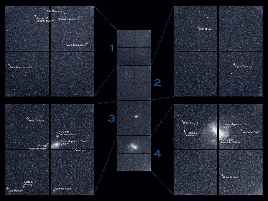 Yıldız alanlarını ve uzayda siyah bir Macellan Bulutu gösteren dört kameradan oluşan bir görüntü şeridinin siyah beyaz görüntüsü.