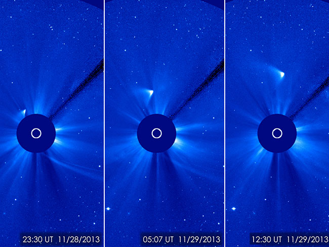 ISON appears as a white smear heading up and away from the sun. Image Credit:  ESA/NASA/SOHO/GSFC