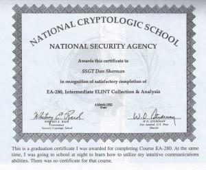 Sherman NSA Certificate