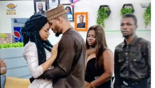 #BBNaija: Moment Nengi curved Ozo's kiss after he was evicted from the big Brother Naija house