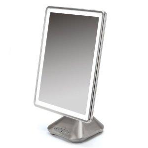 bathroom gadgets iHome Portable, Adjustable Vanity Mirror with Bluetooth Audio, Hands-Free Speakerphone, LED Lighting, Siri & Google Voice Assistant USB Charging, LED Lighting