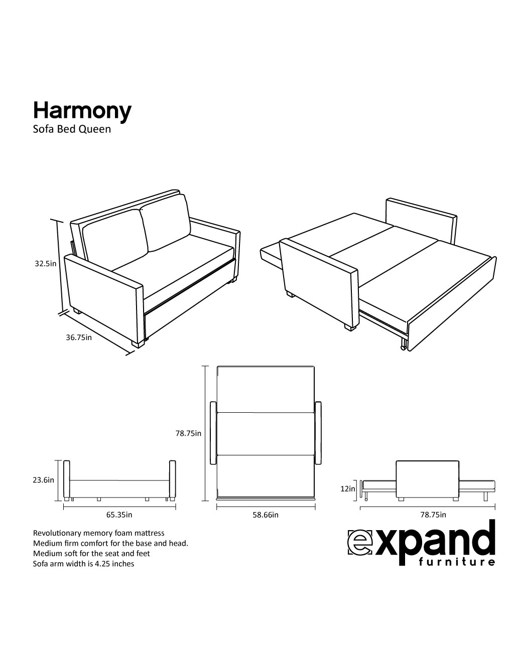 Harmony Queen Size Memory Foam Sofa Bed