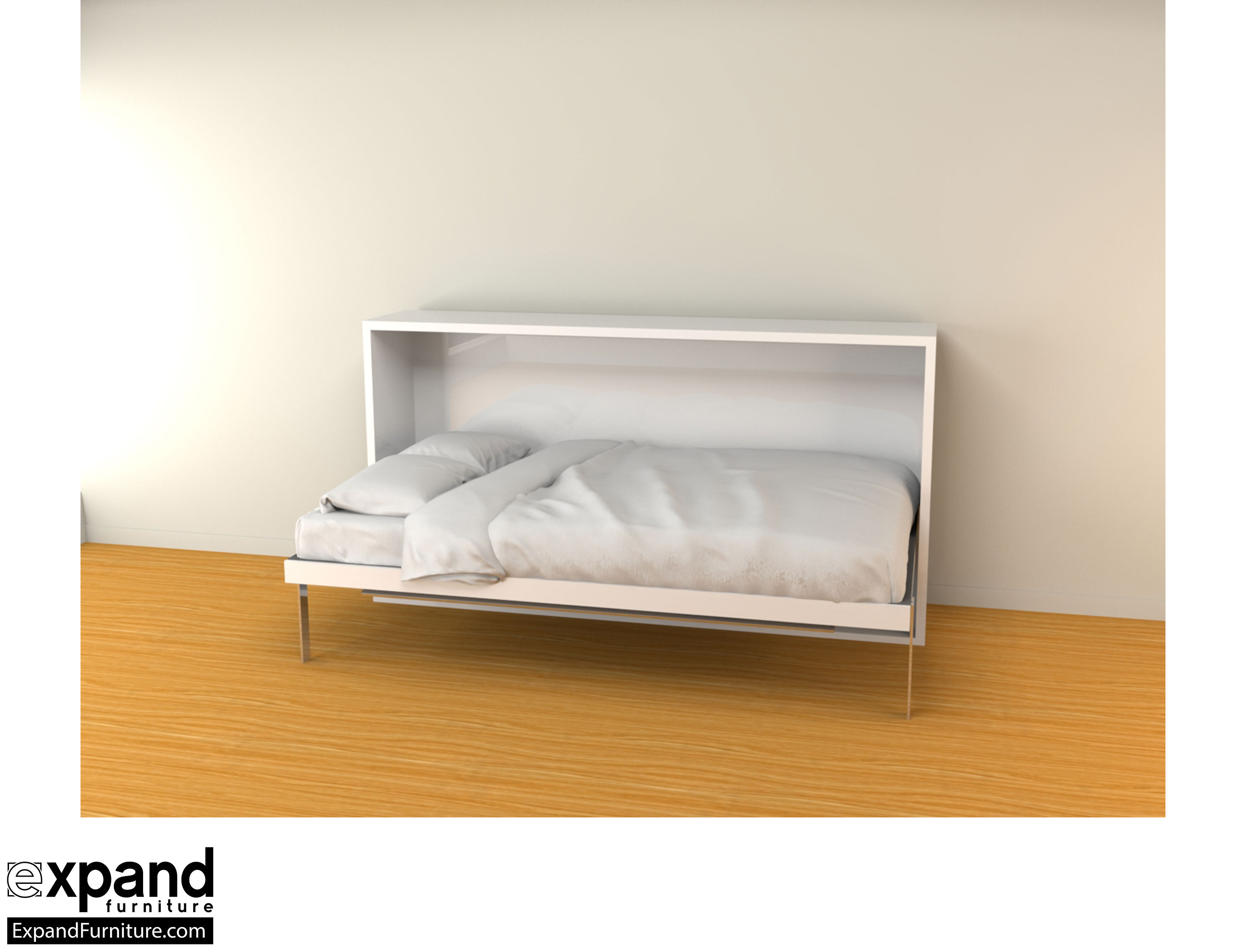 Hover Horizontal Single Murphy Bed Desk Expand
