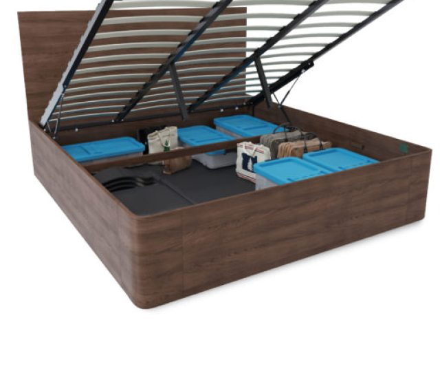 Pratico King Size Lift Wood Storage Bed With