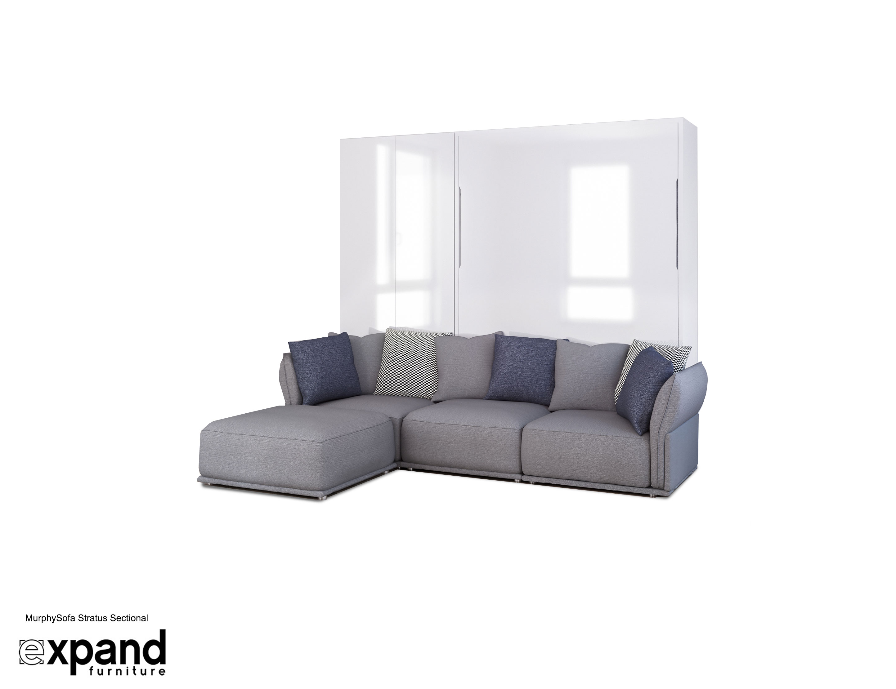 Hidden Beds   Beds That Fold Up  Provide Storage   Save Space MurphySofa Stratus   Sectional Queen wall bed system