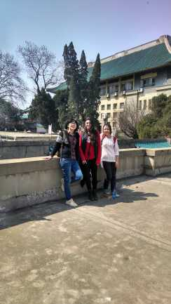 With students of Wuhan University. Photo by Leisa DeCarlo.
