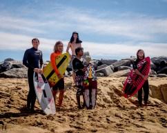 skimboarders group portrait The Wedge Newport Beach CA