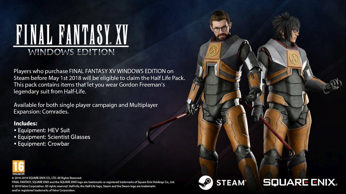Final Fantasy XV Windows Edition preorders give Half Life Pack