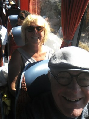 On the bus, on our way to the beach.