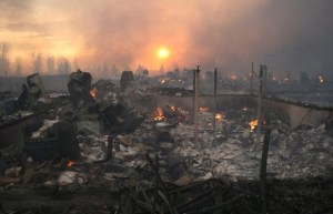 Devastation at Slave Lake, Alberta, wildfire damage