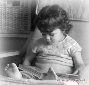 A quiet moment, child reading