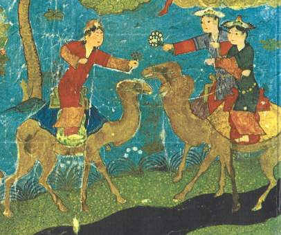 Houris_on_Camelback_-_15th_century_Persia