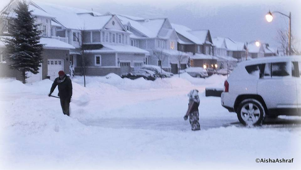 Shovelling snow in Whitby, Ontario