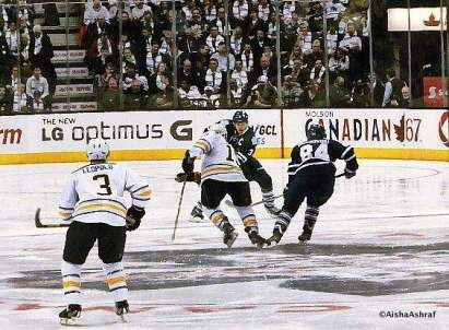 Sticks clash in the Leafs vs Sabres game at the ACC, Toronto