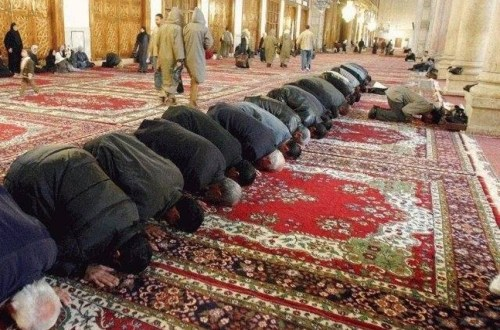 muslims praying in a mosgue