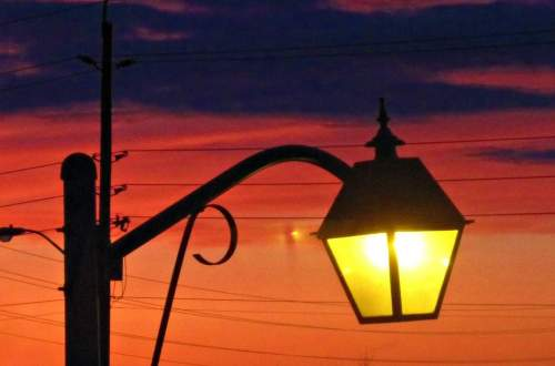 Streetlamp at sunset