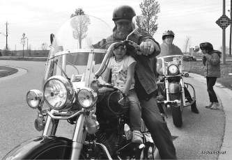 3-year-old on a Harley