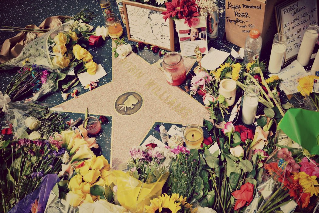 Robin Williams' star on the Hollywood Walk of Fame surrounded by flowers & tributes left by fans on August 12, 2014