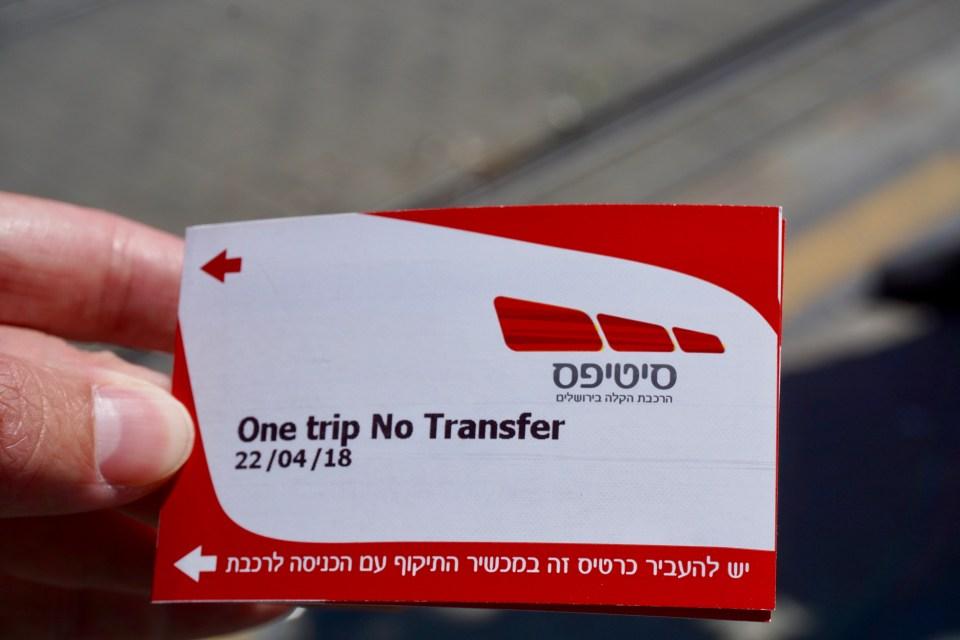 Straßenbahn-Ticket Jerusalem