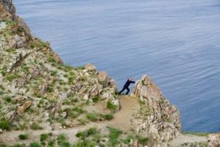 Große, schroffe Klippen auf der Olchon-Insel