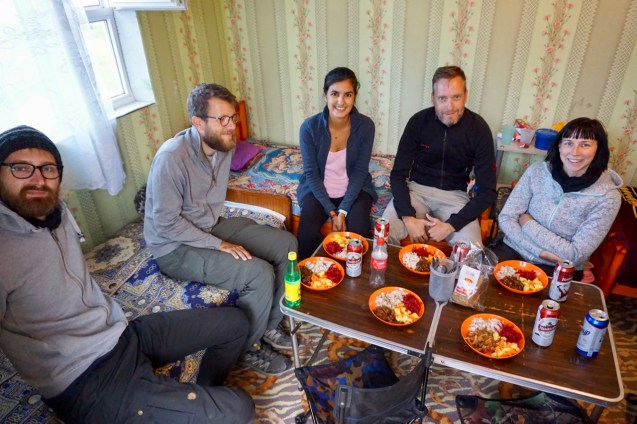 Abendessen während einer Tour