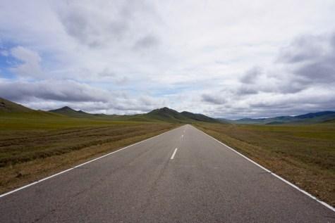 Landstrasse in der Mongolei