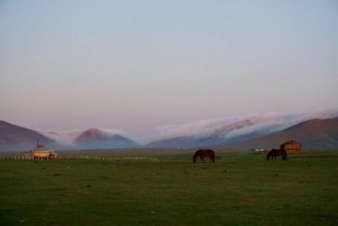 August-Morgen in der Mongolei