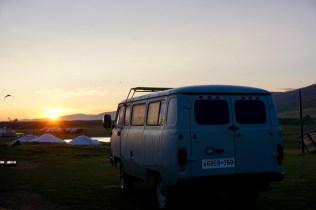 Sonnenaufgang mit Zelten
